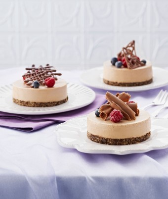 Mini Chocolate Cheesecakes with Berries