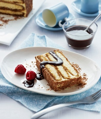 Tiramisu Gateau with Mocha Sauce