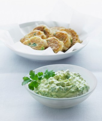 Guacamole with Prawn Fritters