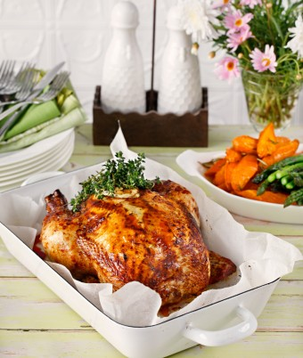Roast Chicken with Creamy Herb Stuffing