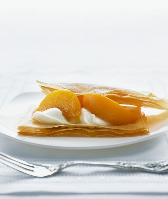Delicate Peach and Filo Dessert