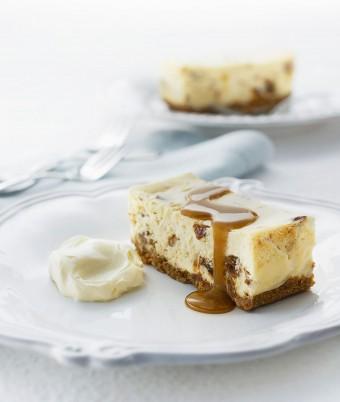 Sticky Date Cheesecake Slice with Caramel Fudge Sauce
