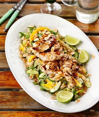 Chilli Chicken with Minted Cucumber Quinoa Salad