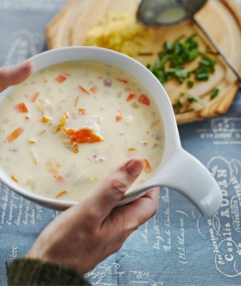 Chowder with Smoked Cod and Streaky Bacon