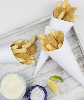 Crumbed whiting and chips cones
