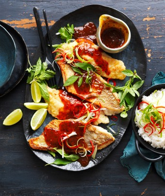 Crispy fish fillets with tamarind lime and chilli sauce