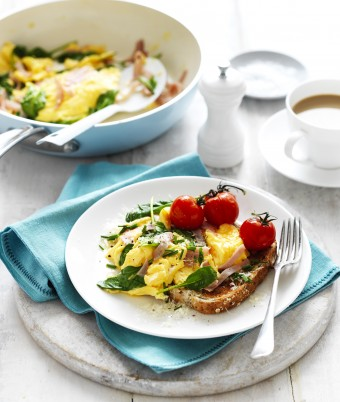 Ham, Spinach and Parmesan Scrambled Eggs