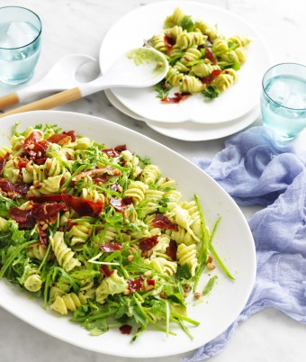 Creamy Avocado Pasta Salad with Crispy Prosciutto