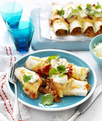 Baked Bean and Chicken Enchiladas