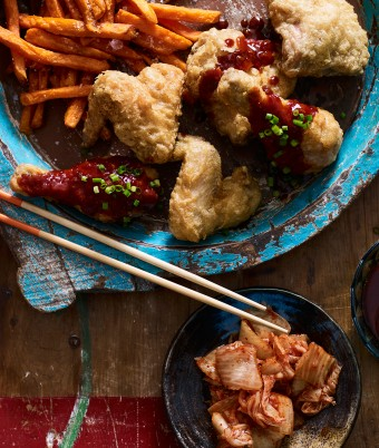 Korean Fried Chicken with Kimchi and Chips