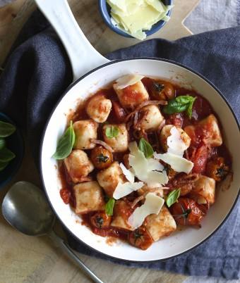 Ricotta Gnocchi with Roast Tomato, Basil and Bacon