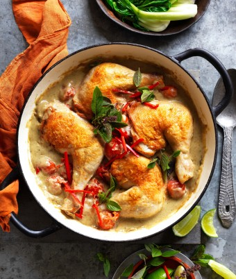 Green Thai curry roast chicken thighs