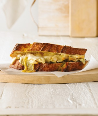 Gruyere, Chicken and Pesto Toastie