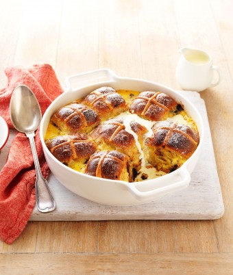 Easy Chocolate Hot cross bun bread butter pudding recipe