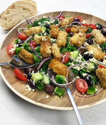 Salt and pepper squid with greek salad
