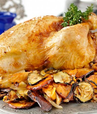 Roast Chicken with Macadamia, Almond and Orange Stuffing