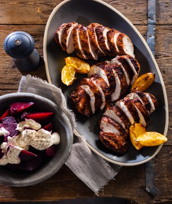 Cinnamon Chicken with Roasted Beetroot and Horseradish Cream