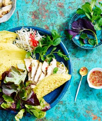 Crispy Vietnamese Pancake with Lemongrass and Ginger Chicken