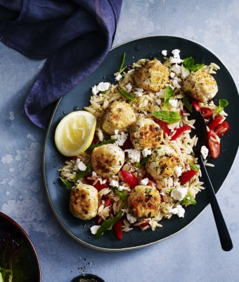 Greek Chicken Meatballs and Pasta Warm Salad Recipe