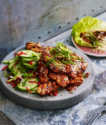 Spicy Korean Chicken with Cucumber Salad Recipe