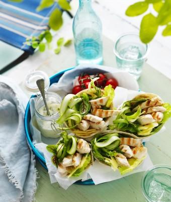 Chicken, Mint & Asparagus Salad Wraps