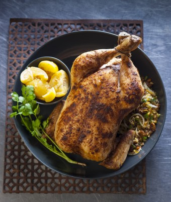Chicken Roast with Couscous, Raisin and Pine Nut Stuffing
