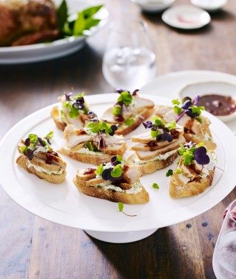 Sweet Chilli Chicken and Coriander Cream Crostini