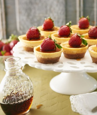 Mini Maple Cheesecake recipe with strawberries