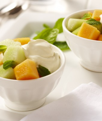 Minty melon with ginger yoghurt