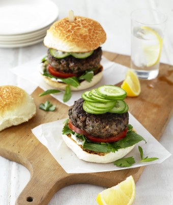 Greek Lamb and Portabella Mushroom Burgers