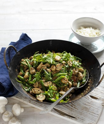 Pork, Mushroom and Kale Stir-Fry