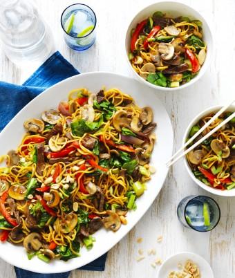 Easy Mushroom, Beef and Noodle Stir-Fry