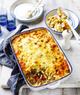 Cheesy Mushroom, Bacon and Veggie Pasta Bake Recipe