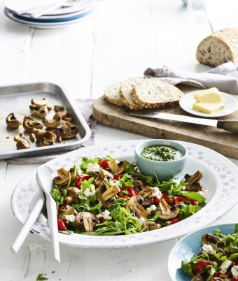 Warm Roasted Mushroom and Almond Pesto Salad