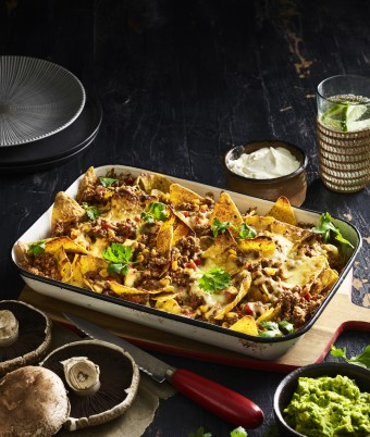 Best Ever Pork and Mushroom Nachos with Harissa and Smashed Avocado