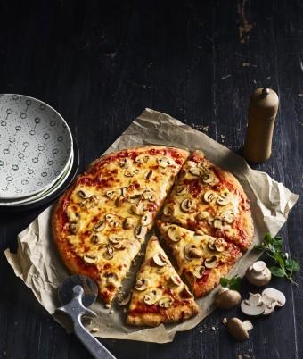 Mushroom Pizza with Easy Yoghurt Pizza Base Recipe