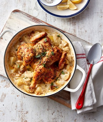 One pot whole chicken recipe with creamy potatoes