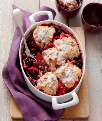 Mixed Berry & Apple Pecan Cobbler