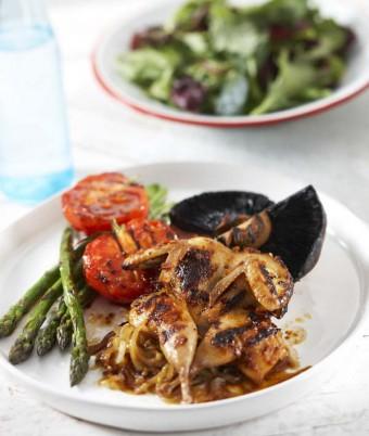 Garlic Marsala Marinated Quail Grilled Asparagus, Tomato, Field Mushroom With Caramelized Onions