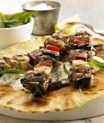 Greek Quail Kebabs With Creamy Basil & Feta Sauce