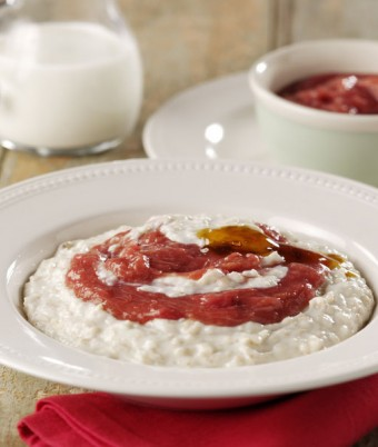 Creamy Porridge With Golden Syrup And Rhubarb