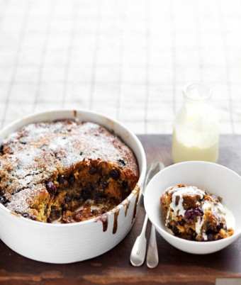 Blueberry, Walnut & Golden Syrup Pudding