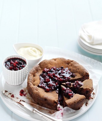 Mixed Berry and Chocolate Dessert Cake with Berry Compote
