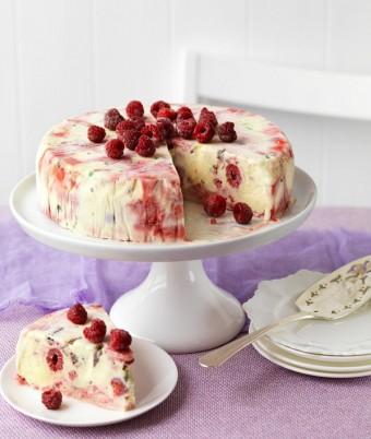 Raspberry Ripple & Peppermint Crisp Ice-Cream Cake