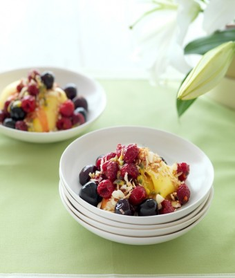 Raspberries and Cherries in Passionfruit Syrup