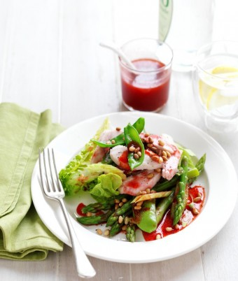 Smoked Chicken & Asparagus Salad with Raspberry & Balsamic Vinaigrette