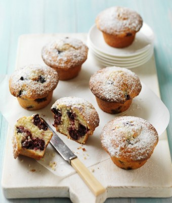 Cherry, sour cream & coconut muffins