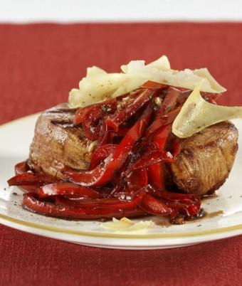 Grilled Steak with Sauteed Capsicum