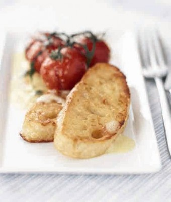 Cheesy French Toast with Sauteed Cherry Tomatoes