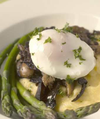 Soft Polenta with Field Mushrooms and Poached Egg